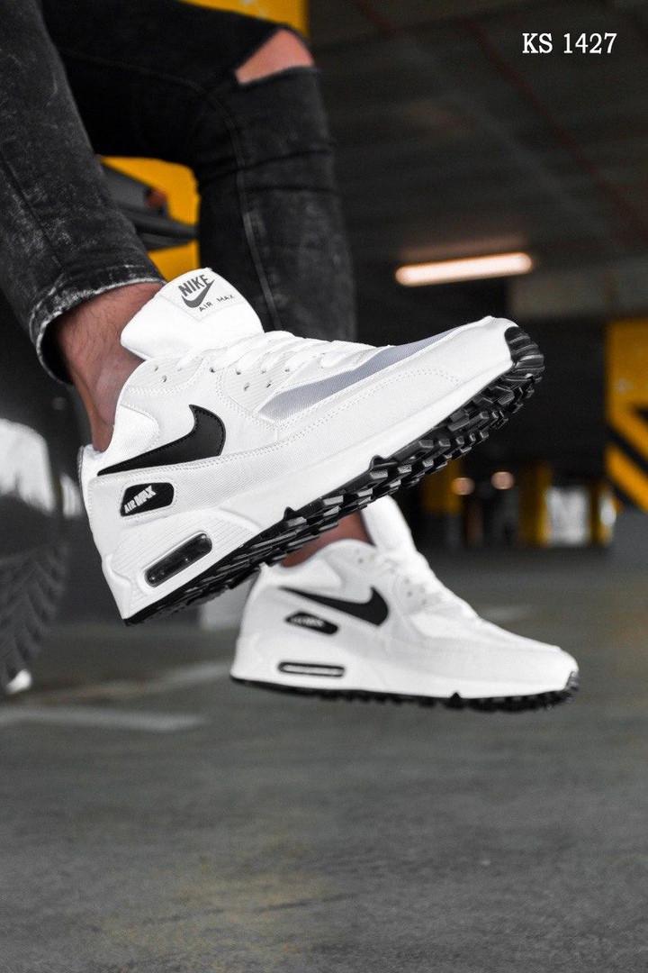 Кроссовки мужские Nike Air Max 90 белые / чоловічі кросівки Найк (Топ реплика ААА+)