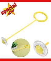 Нейроскакалка, скакалка на одну ногу, светящаяся крутилка с колесиком. Желтая