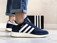 Кроссовки мужские Adidas Iniki Runner Boost Адидас Иники Ранер Буст темно-синие с белым
