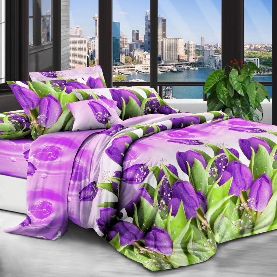 Полуторна постільна білизна Бязь Gold - Розквітли тюльпани 395/445 грн (ціна за 1 шт +50 грн)