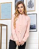 Молодежная классическая блуза норма с длинным рукавом на пуговицах, пять цветов р.42,44,46,48 код 444А, фото 3