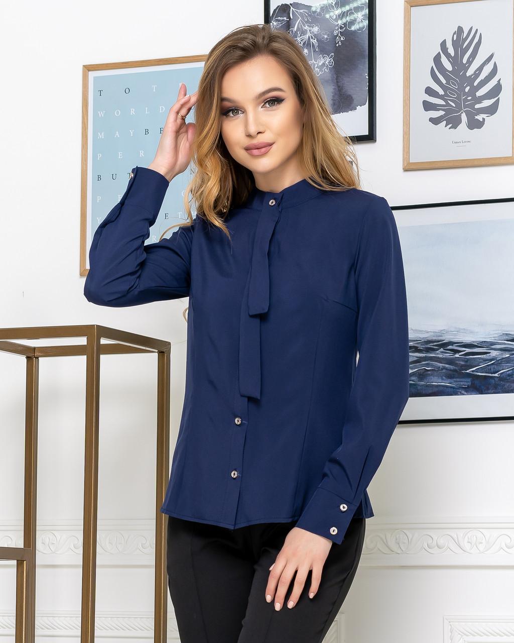 Молодежная классическая блуза норма с длинным рукавом на пуговицах, пять цветов р.42,44,46,48 код 444А