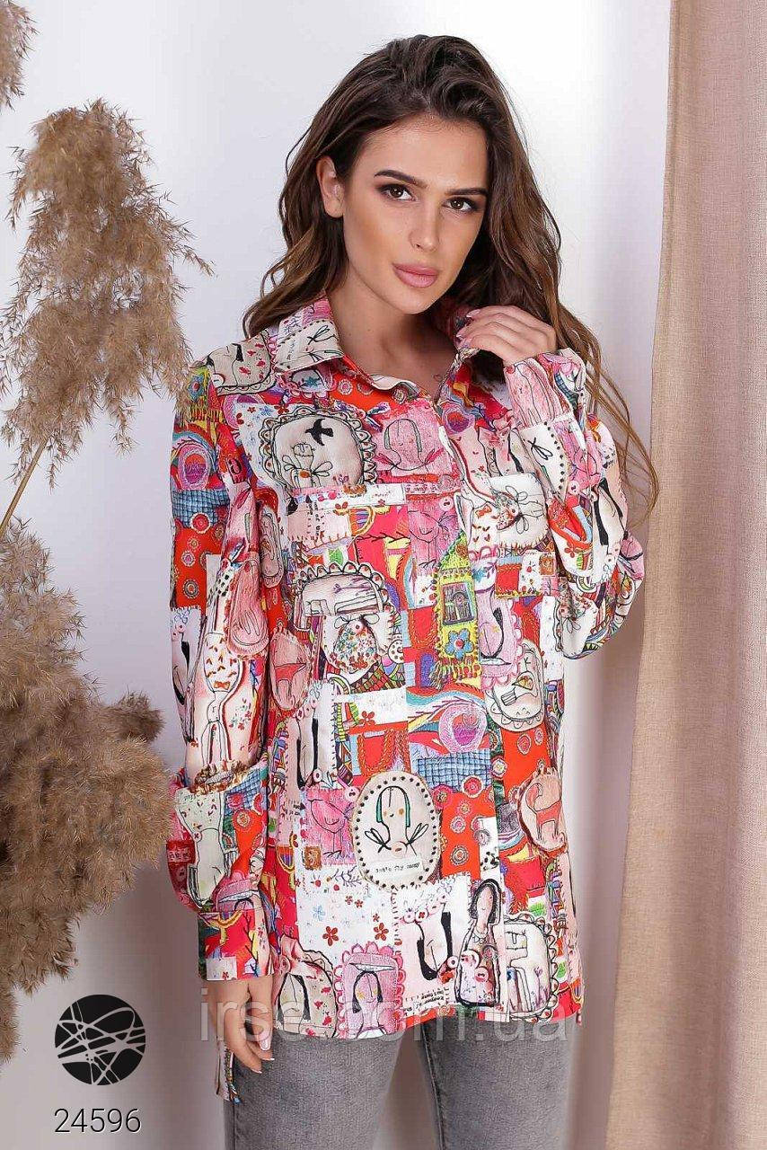 Женская рубашка красного цвета с принтом. Модель 24596. Размеры 42-48