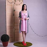 🌺 Халат в роддом с ночной сорочкой для кормления, комплект 1603, фото 1