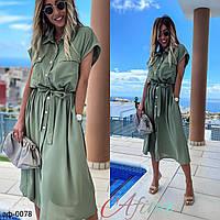 Женское стильное платье-рубашка Миди С, М +большие размеры Разные цвета
