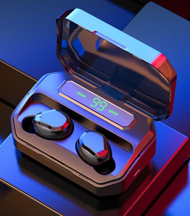 Беспроводные сенсорные наушники гарнитура в кейсе с павербанком с микрофоном NiYE TT5 Bluetooth Черные