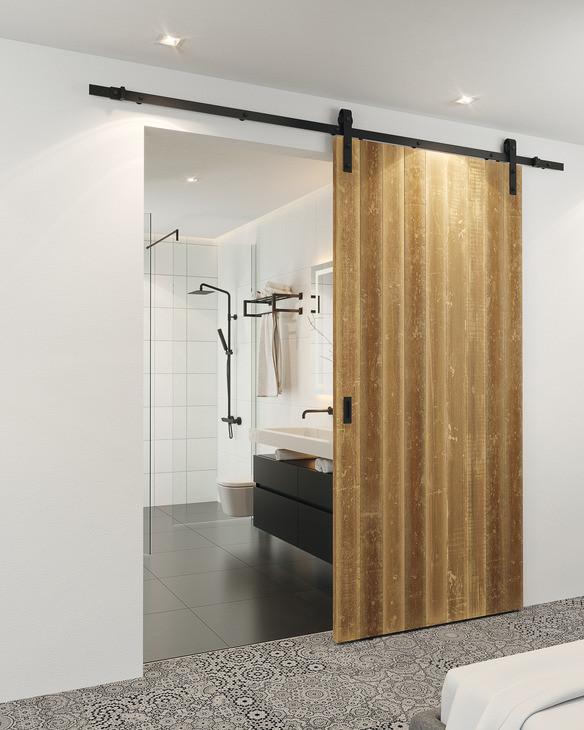 Набір фурнітури Hafele Design 100-S для одногодверного полотна 2 м, сталевий колір чорний