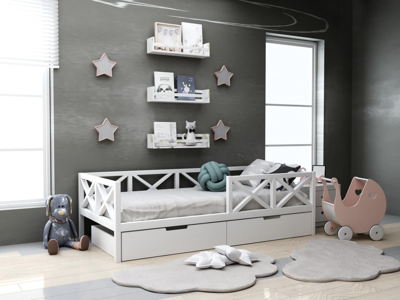 Дитяча дерев'яне ліжко Міккі з ящиками 80х190