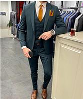 Костюм 3-ка брюки жилетка пиджак классический зелёный стильный мужской