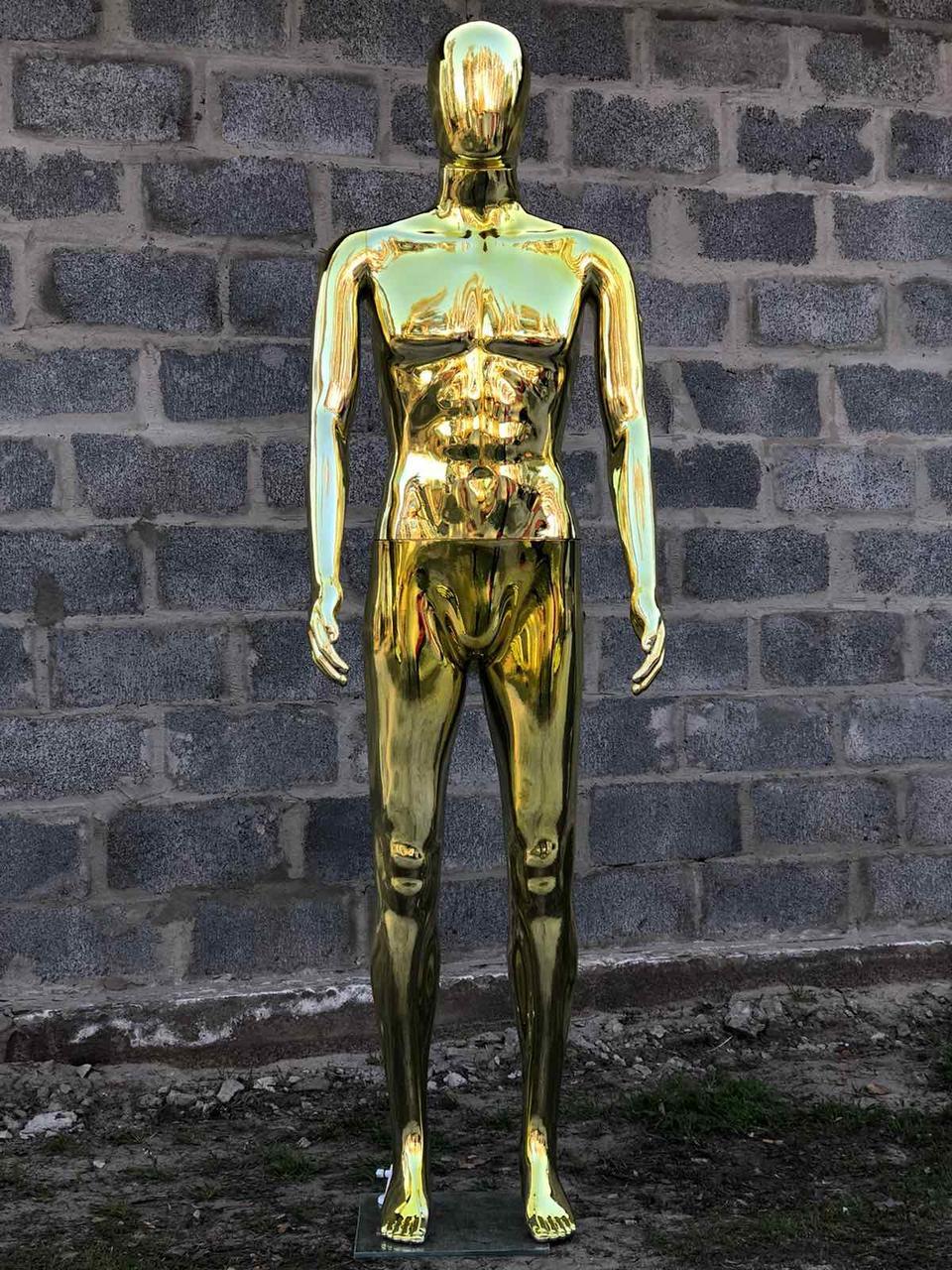 Мужской золотой манекен Аватар в полный рост на подставке