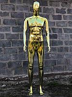 Мужской золотой манекен Аватар в полный рост на подставке, фото 1