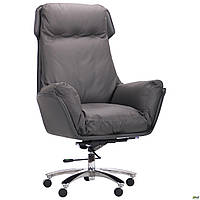 Кресло офисное кожаное AMF Wilson Grey серое