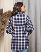 Свободная удобная рубашка в клетку с длинным рукавом, р.42,44,46,48 код 435А, фото 3