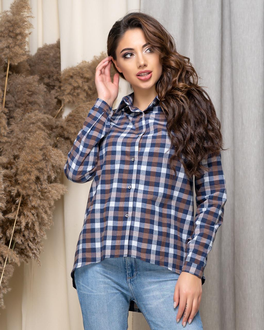 Свободная удобная рубашка в клетку с длинным рукавом, р.42,44,46,48 код 435А