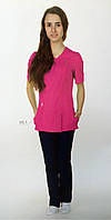 """Распродажа Медицинский костюм женский 42 размер """"Дана"""" коттон темно синяя рубашка и ярко розовые брюки"""