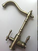 Смеситель для кухни Globus Lux LAZER бронзовый, комбинированный под фильтр/осмос на гайке