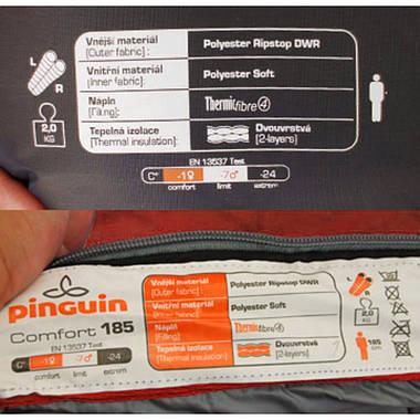 Спальний мішок Pinguin Comfort 185 Red Right Zip, фото 3
