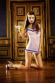 Пеньюар White-Purple Ruffled Nightgown