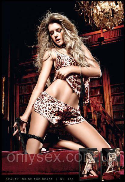 Комплект Leopard Satin Chemise & Knickers, M/L