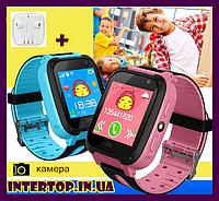 Детские смарт часы телефон Smart Baby watch S4 с GPS сенсорный экран . Умные часы + подарочная упаковка