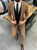 Костюм 3-ка брюки жилетка пиджак классический коричневый в узор стильный мужской
