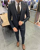Костюм 3-ка брюки жилетка пиджак классический  тёмно-синий стильный мужской
