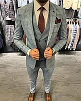 Костюм 3-ка брюки жилетка пиджак классический  серый стильный мужской