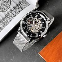 Мужские наручные оригинальные часы Forsining Silver-Black 1040