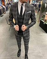 Костюм 3-ка брюки жилетка пиджак классический  серый к крупную клетку стильный мужской