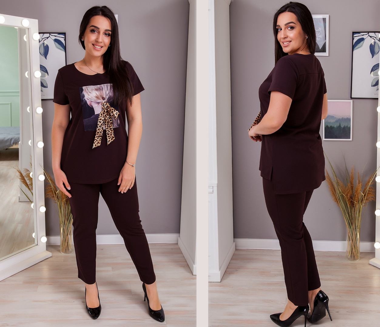 Женский костюм футболка и штаны креп дайвинг размеры: 50-52, 54-56, 58-60, 62-64