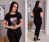 Женский костюм футболка и штаны креп дайвинг размеры: 50-52, 54-56, 58-60, 62-64, фото 2
