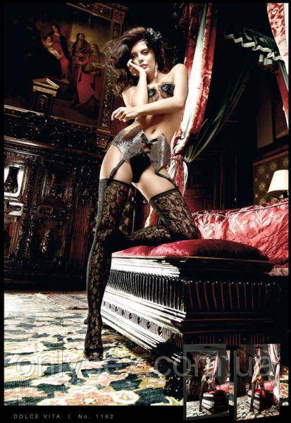 Чулки с красивым узором Black Patterned Stockings