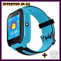 Детские смарт часы телефон Smart Baby watch S4 с GPS синий цвет. Умные часы + 2 ПОДАРКА