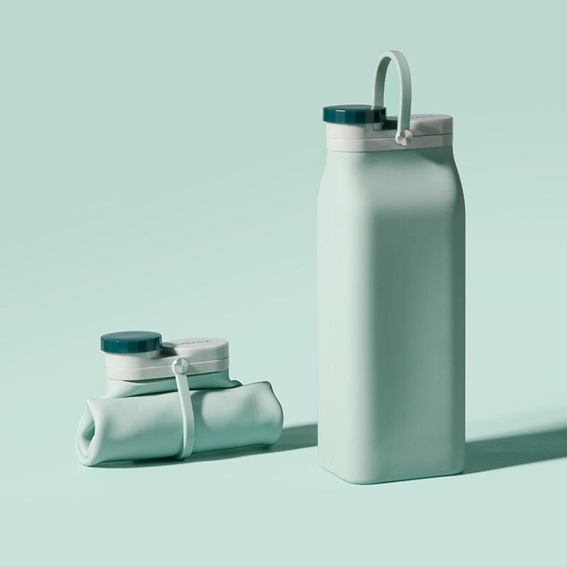Складная бутылка Detox Мятная, бутылка для воды, силиконовая бутылка, эко бутылка