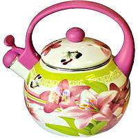 СКИДКА! Чайник индукционный 2,2 литра эмалированный со свистком для плиты «Розовая лилия» Zauberg
