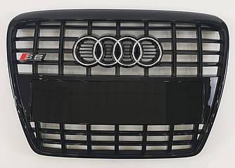 Решетка радиатора Audi A6 C6 (05-11) стиль S6 (черный глянц)