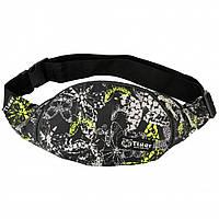 Бананка, сумка на пояс, сумка через плечо TIGER БАБОЧКИ СЕРЫЕ, фото 1