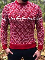 Мужской свитер с оленями красный