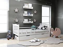 Дитяча дерев'яне ліжко Доббі біла з ящиками 80х190 см