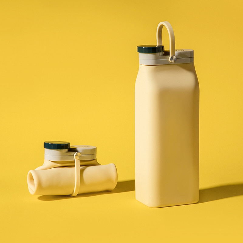 Складная бутылка Detox Желтая, бутылка для воды, силиконовая бутылка, эко бутылка