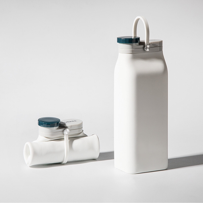 Складная бутылка Detox Белая, бутылка для воды, силиконовая бутылка, эко бутылка