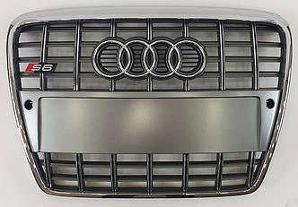 Решетка радиатора Audi A6 C6 (05-11) стиль S6 (серебро)