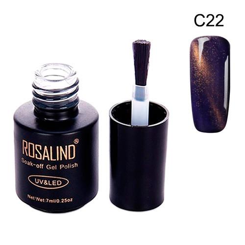 Гель-лак для ногтей маникюра 7мл Rosalind, кошачий глаз, C22 индиго