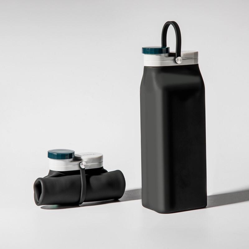 Складная бутылка Detox Черная, бутылка для воды, силиконовая бутылка, эко бутылка