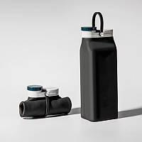 Складная бутылка Detox Черная, бутылка для воды, силиконовая бутылка, эко бутылка, фото 1