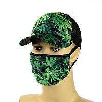 """Комплект кепка и маска """"Марихуана"""""""