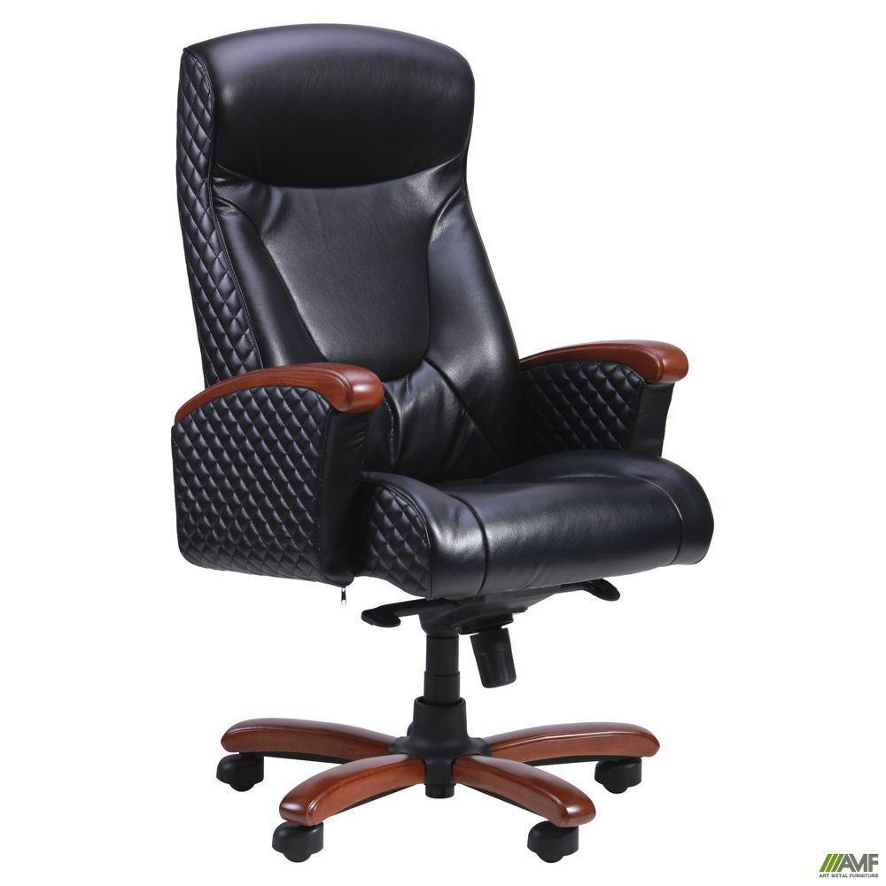 Кресло офисное кожаное AMF Галант Лайн MB чёрное
