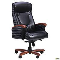 Кресло офисное кожаное AMF Галант Лайн MB чёрное, фото 1