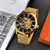 Мужские наручные часы оригинальные под золото Forsining Gold-Black 1040