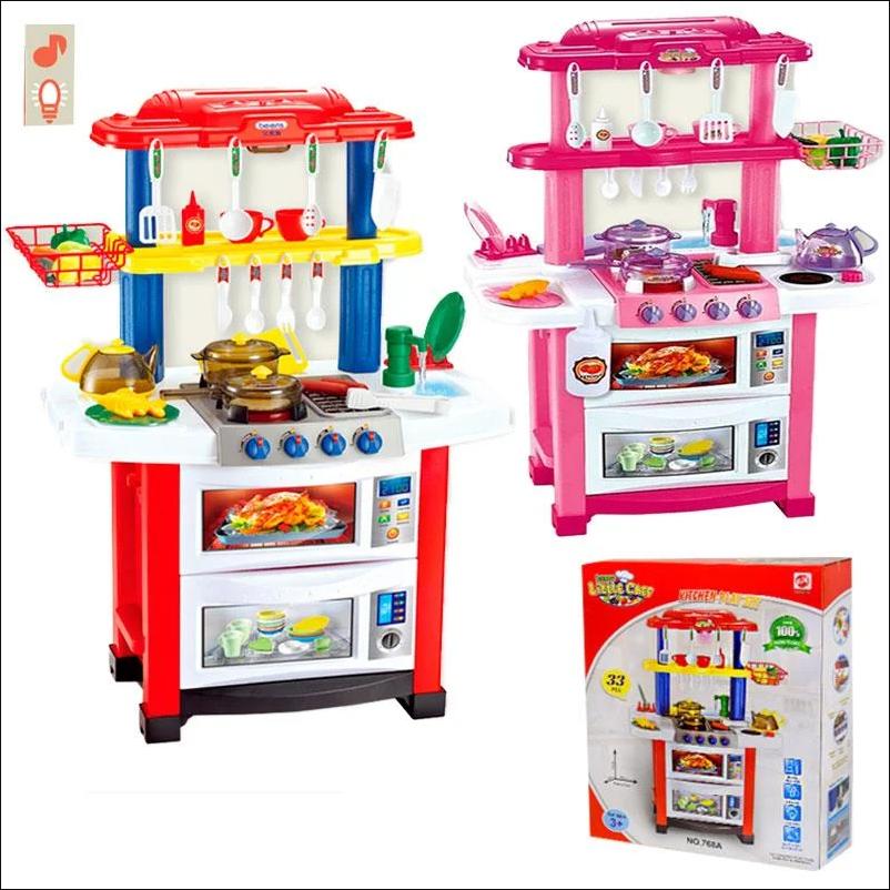 Кухня детская 768 А/В 2 цвета, свет-звук, течет вода, посудка 83см